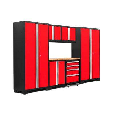 Bold 3.0 77.25 in. H x 108 in. W x 18 in. D 24-Gauge Welded Steel Bamboo Worktop Cabinet Set in Red (7-Piece)