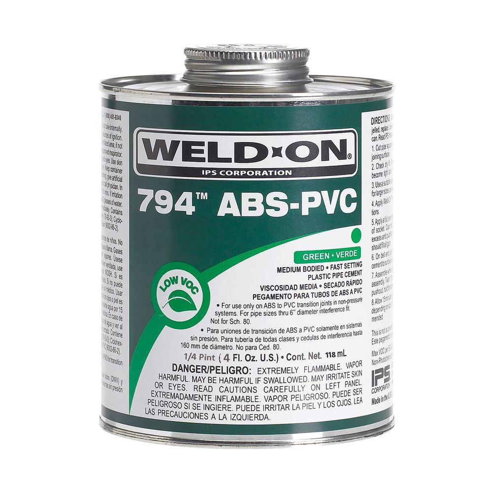 Weld-On 4 oz  ABS PVC 794 Transition Cement in Green
