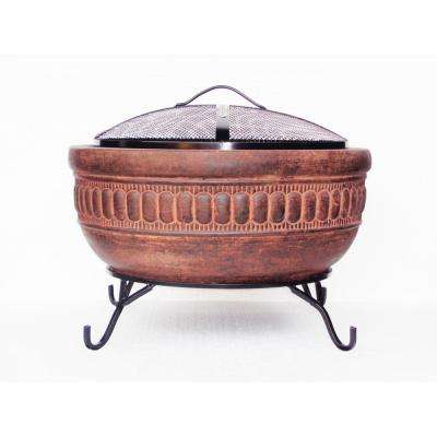 20 in. Clay Fire Pit with Iron Stand and Lid