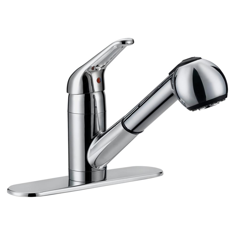 EZ-FLO Prestige Collection Contemporary Flair Single-Handle Pull-Out Sprayer Kitchen Faucet in Chrome