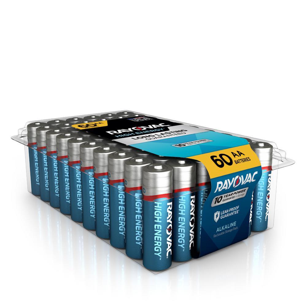 Rayovac High Energy Alkaline AA/1 5-Volt Battery (60-Pack)