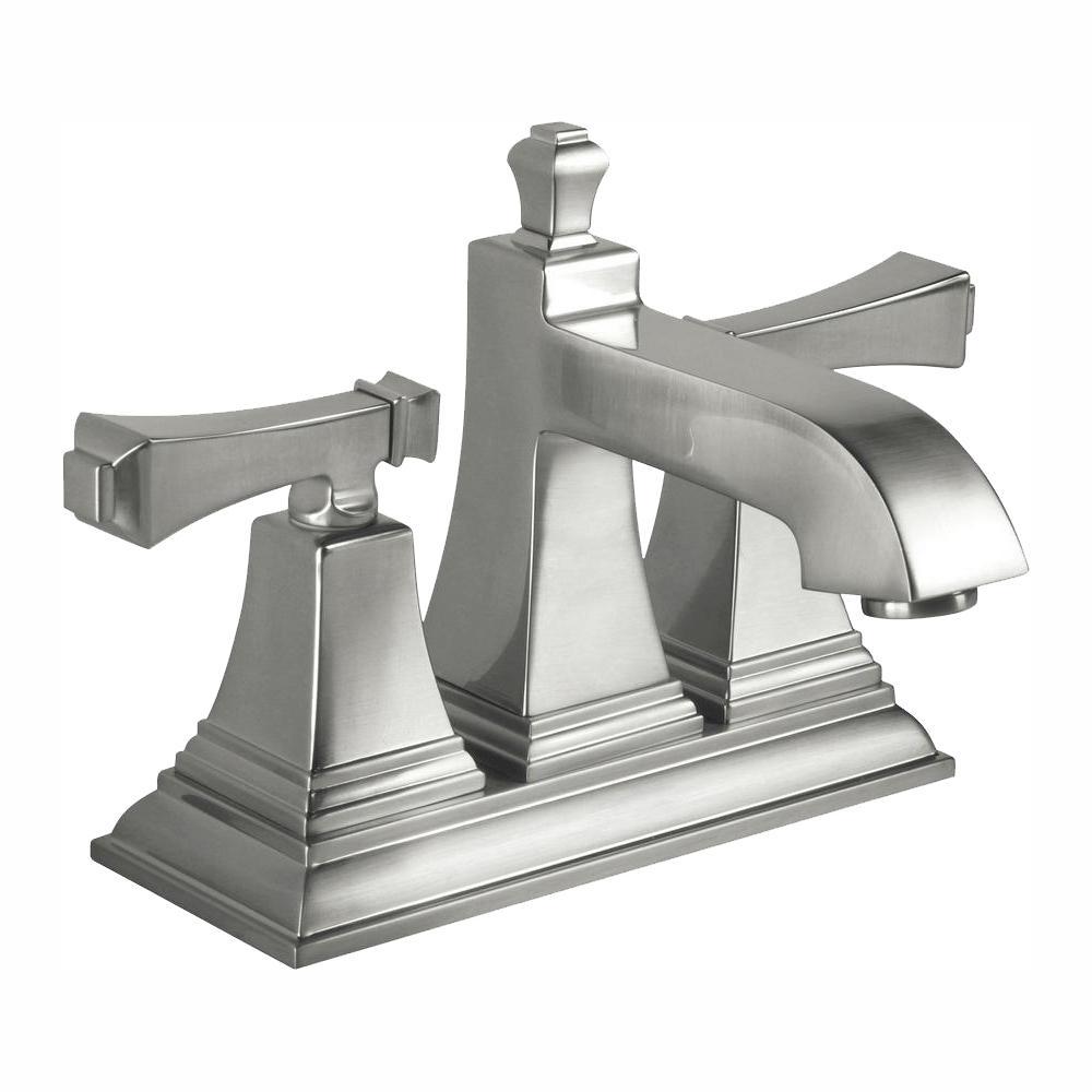 Exhibit 4 in. Centerset 2-Handle Low-Arc Bathroom Faucet in Brushed Nickel