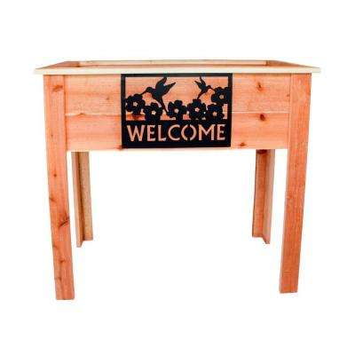 36 in. Redwood Raised Planter with Welcome Sign