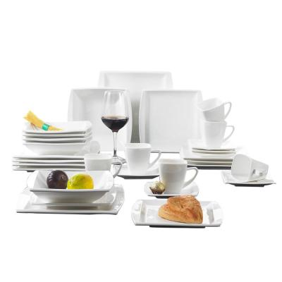 BLANCE 30-Piece Casual White Porcelain Dinnerware Set Dinner Plates Mugs and Saucer (Service for 6)