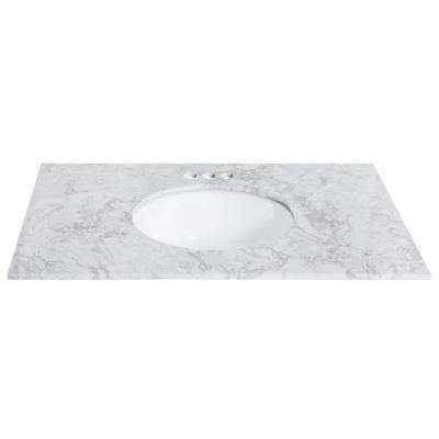 37 in. W x 22 in. D Engineered Stone Single Basin Vanity Top in Winter Lake with White Basin