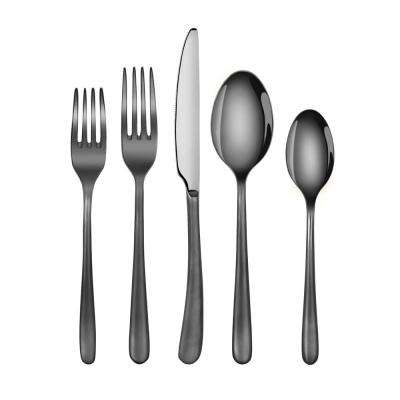 Rain II Forged 18/10 Stainless Steel Flatware 20-Piece Set, Black Finshed, Service for 4