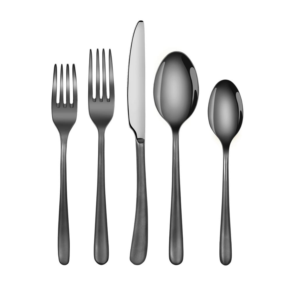 Rain II Forged 18/10 Stainless Steel Flatware 20-Piece Set, Black Finshed,