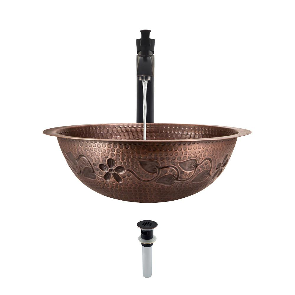 MR Direct Tri-Mount Bathroom Sink in Copper with 726 Faucet and Grid Drain in Antique Bronze