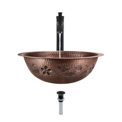 Tri-Mount Bathroom Sink in Copper with 726 Faucet and Grid Drain in Antique Bronze