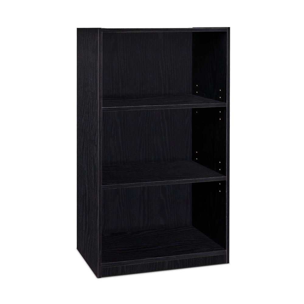 JAYA 3-Shelf Black Open Bookcase