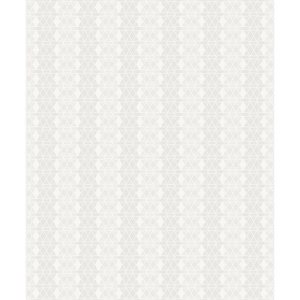8 in. x 10 in. Taylor Ivory Diamond Wallpaper Sample