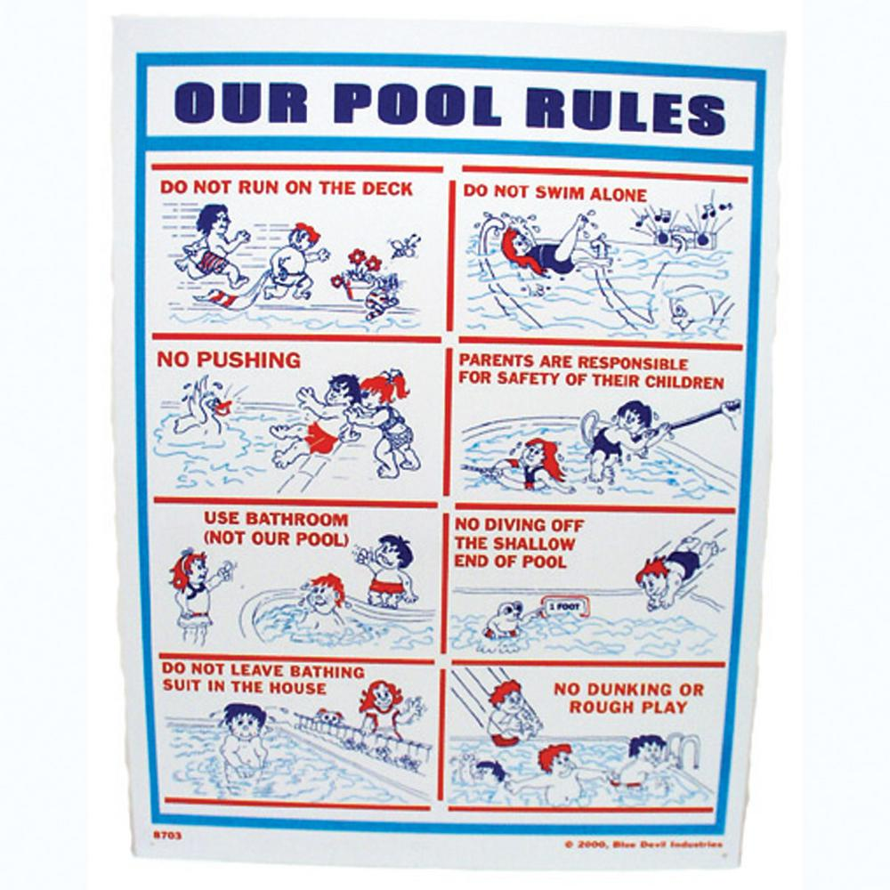 Valterra 18 in. x 24 in. Blue Devil Our Pool Rules Sign
