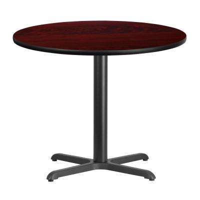 36 in. Round Mahogany Laminate Table Top with 30 in. x 30 in. Table Height Base