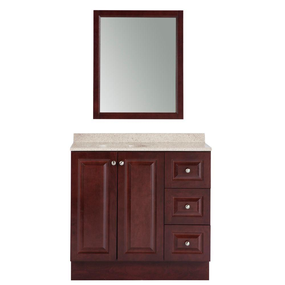 Glacier Bay Northwood 36 In. W X 18 In. D Bath Vanity In Dark Cherry With  Composite Vanity Top In Maui And Mirror NW36P3COM DC   The Home Depot