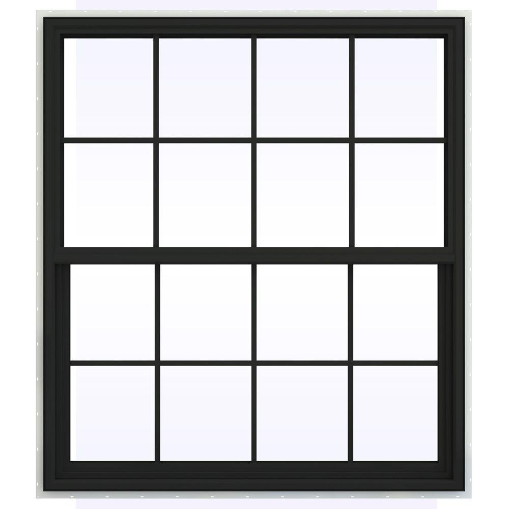 JELD-WEN 47.5 in. x 47.5 in. V-4500 Series Single Hung Vinyl Window with Grids - Bronze