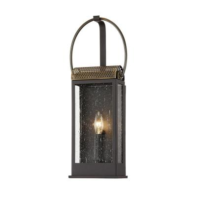 Holmes Bronze and Brass 1-Light Wall Sconce with Clear Seeded Glass Shade
