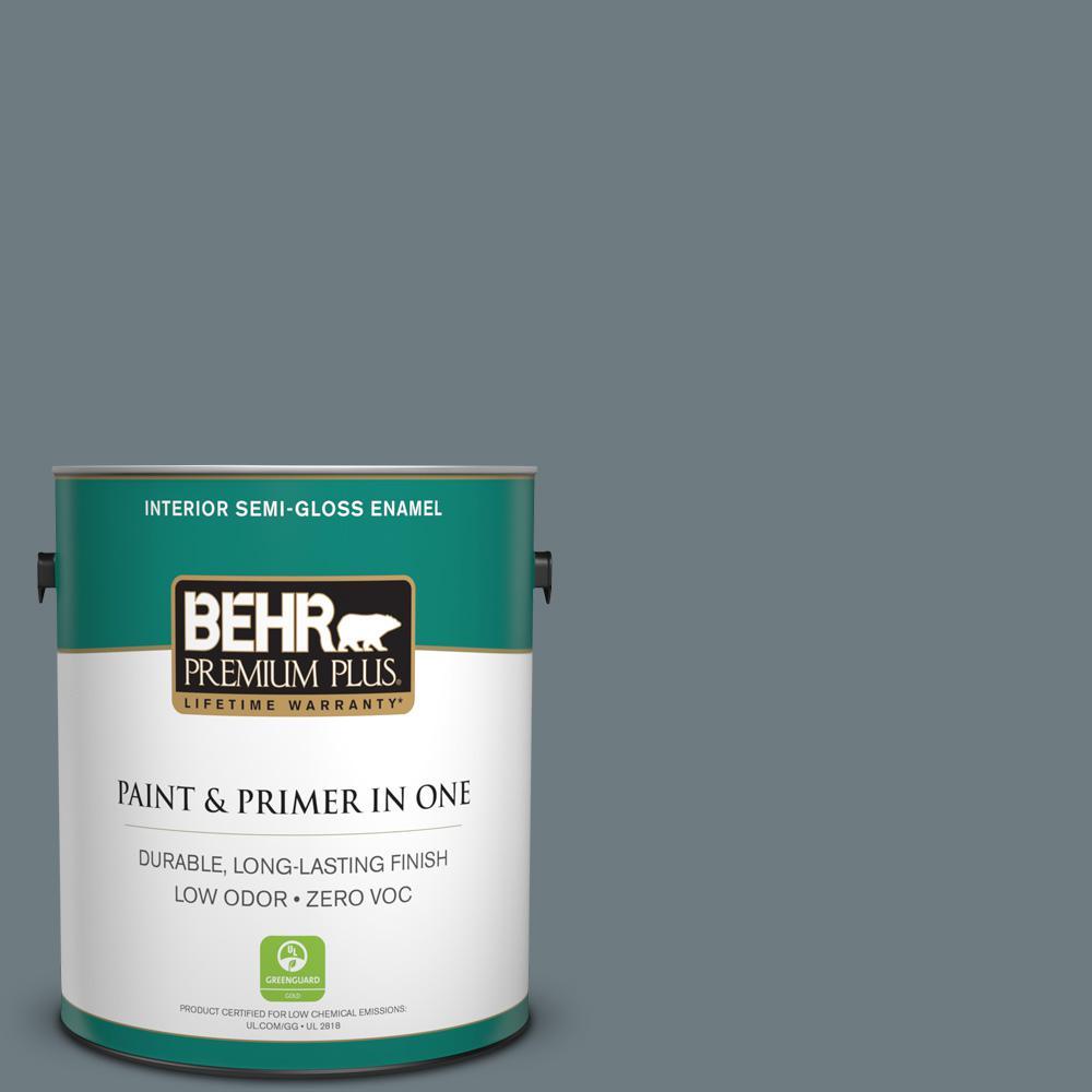 1-gal. #720F-5 Hidden Peak Zero VOC Semi-Gloss Enamel Interior Paint