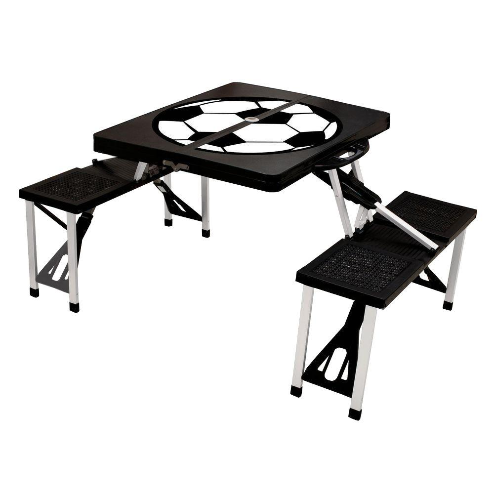 Black Sport Compact Patio Folding Picnic Table With Soccer Pattern