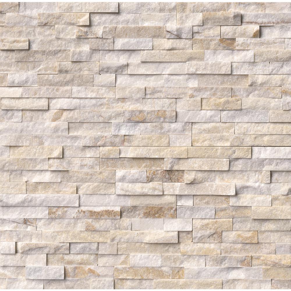 Arctic Golden Split Face Ledger Panel 6 in. x 24 in. Marble Wall Tile (10 cases / 60 sq. ft. / pallet)