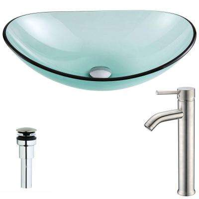 Major Series Deco-Glass Vessel Sink in Lustrous Green with Fann Faucet in Brushed Nickel