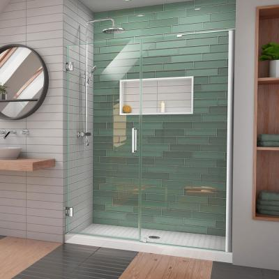 Unidoor-LS 57 in. - 58 in. W x 72 in. H Frameless Hinged Shower Door with L-Bar in Chrome