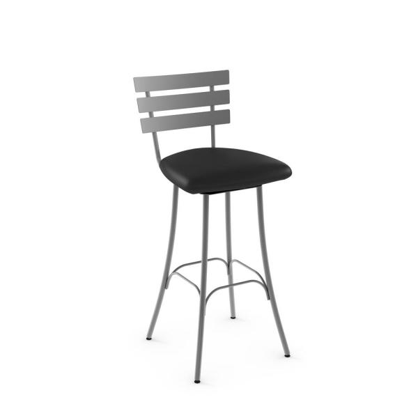 Amisco Unity 26 in. Glossy Grey Metal Black Polyurethane Counter Stool