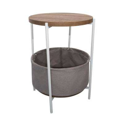 Oraa Rustic Oak and White Metal Frame Side Table with Storage Basket