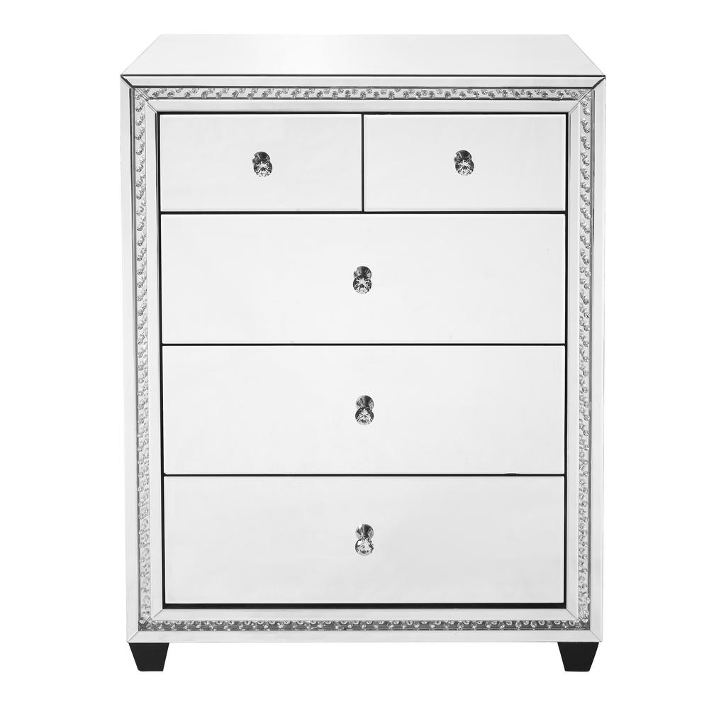 Hudson Assembled 31.5x40.5x20 in. Base Crystal Cabinet with 5-Drawers  Rectangle Mirror Top in Clear