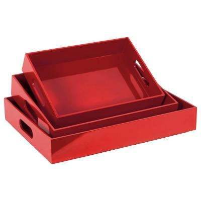 Red Wood Decorative Tray (Set of 3)
