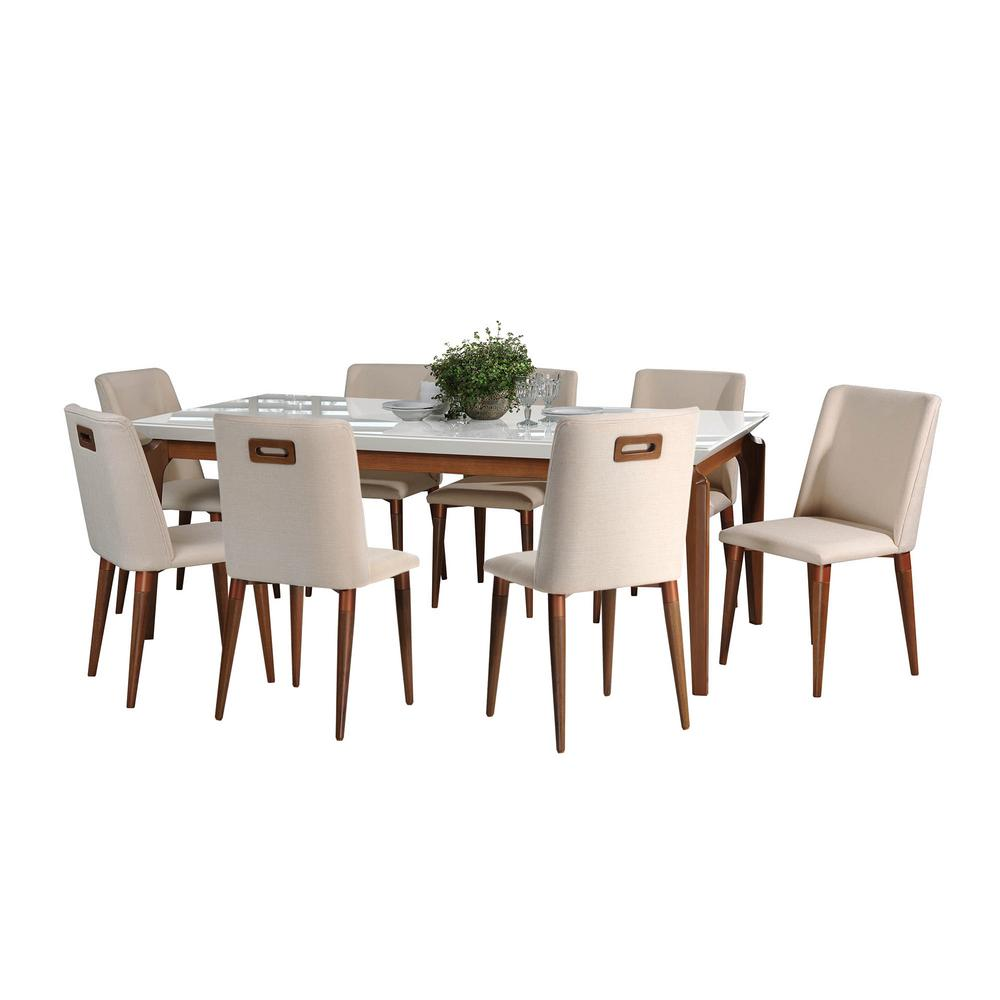 Manhattan Comfort Payson 82.67 In. And Tampa 9 Piece White Gloss And Dark  Beige