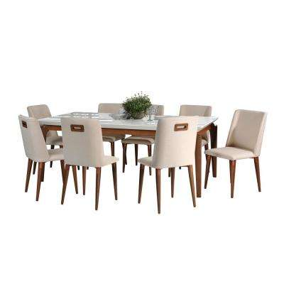 Payson 82.67 in. and Tampa 9-Piece White Gloss and Dark Beige Dining Set