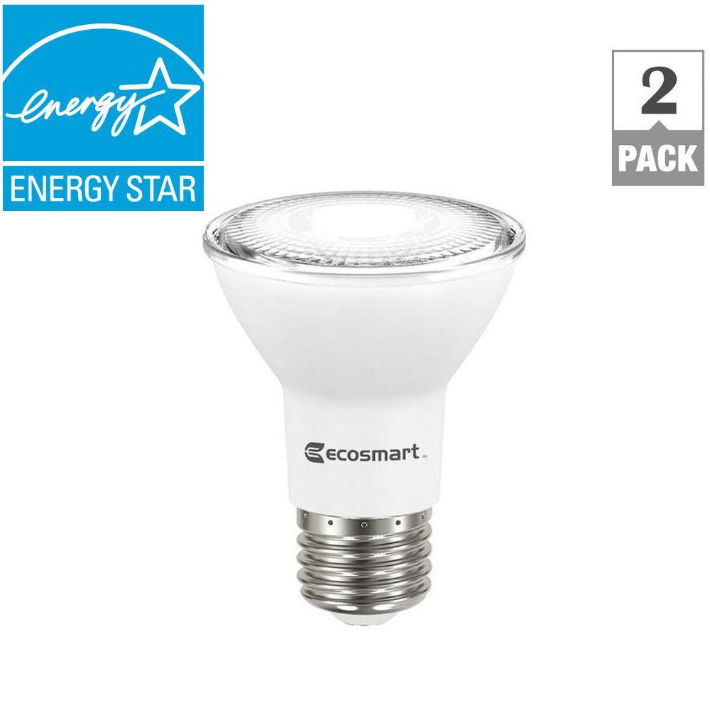 50W Equivalent Bright White PAR20 Dimmable LED Flood Light Bulb (2-Pack)