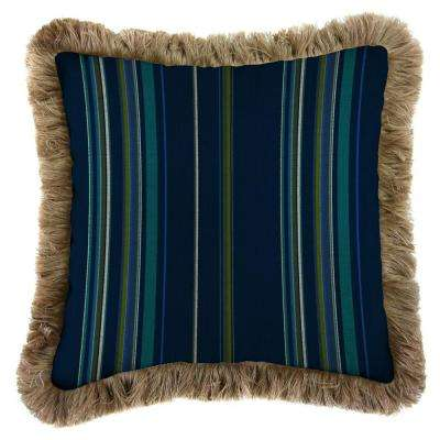 Sunbrella Stanton Lagoon Square Outdoor Throw Pillow with Heather Beige Fringe