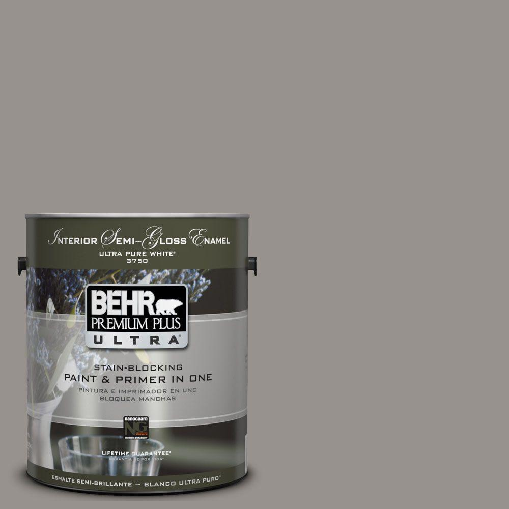 BEHR Premium Plus Ultra 1-gal. #UL260-5 Elephant Skin Interior Semi-Gloss Enamel Paint