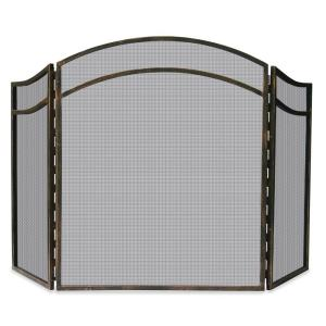 UniFlame Antique Rust Wrought Iron 3-Panel Fireplace Screen with ...