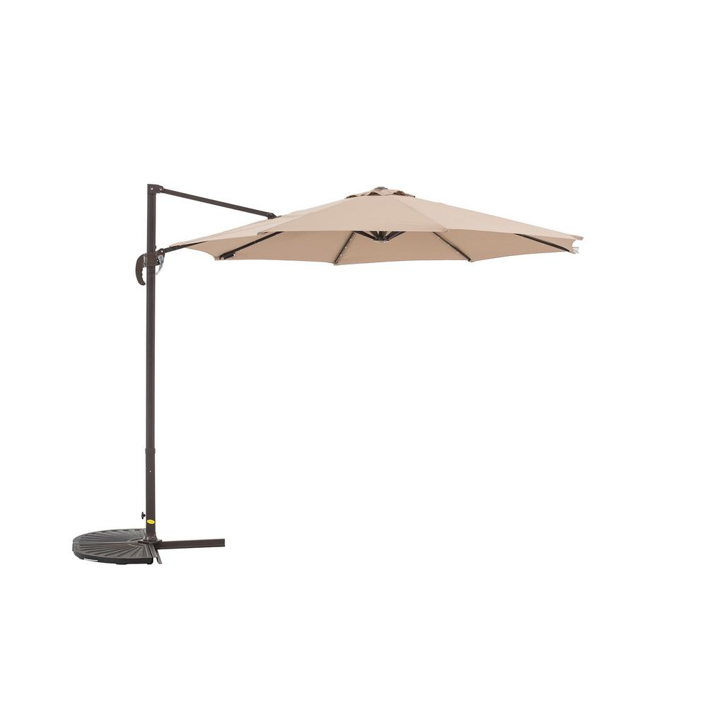 Offset Outdoor Parasol With Lights Cross Base Hanging Cantilever Umbrella In Khaki