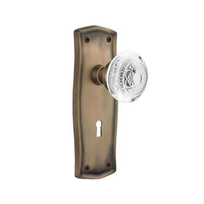 Prairie Plate 2-3/4 in. Backset Antique Brass Privacy Bed/Bath with Keyhole Crystal Egg and Dart Door Knob