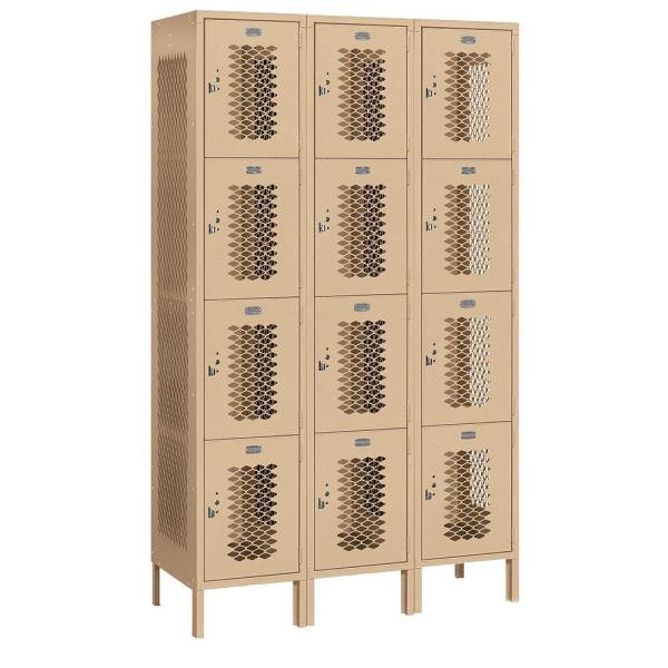 Salsbury Industries 84000 Series 4 Tier 45 In W X 78 In H X 18 In D Vented Metal Locker Assembled In Tan 84368tn A The Home Depot