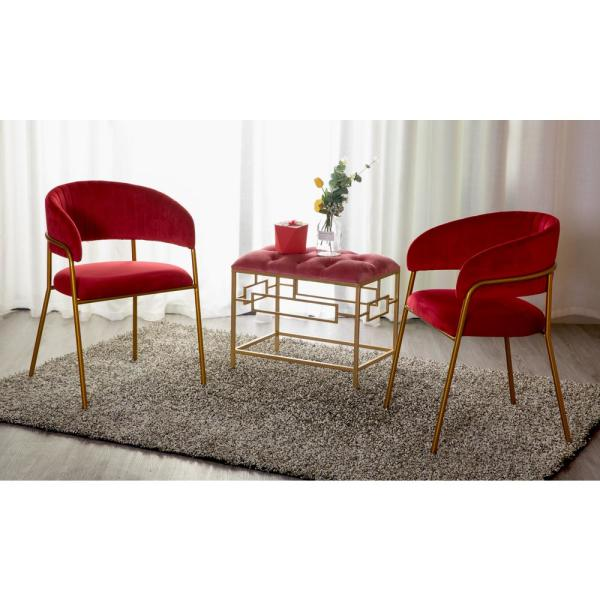 Bold Tones Set Of 2 Modern Red Velvet Fabric Upholstered Accent Arm Chair With Gold Metal Legs Qi003541r 2 The Home Depot