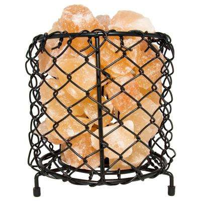 Himalayan Natural Salt 7.5 in. Pink Air Purifying Cylinder Mesh Basket Lamp with Salt Chunks, Bulb and Electric Wire