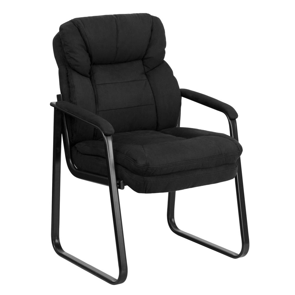 Flash Furniture Black Microfiber Executive Side Chair With Sled Base