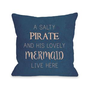 Salty Pirate Lovely Mermaid 16 inch x 16 inch Decorative Pillow by