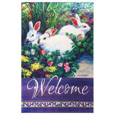 1 ft. x 1-1/2 ft. Happy Easter Bunnies and Flowers Welcome Garden Flag