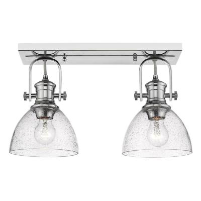 Hines 7 in. Chrome with Seeded Glass 2-Light Semi-Flush Mount