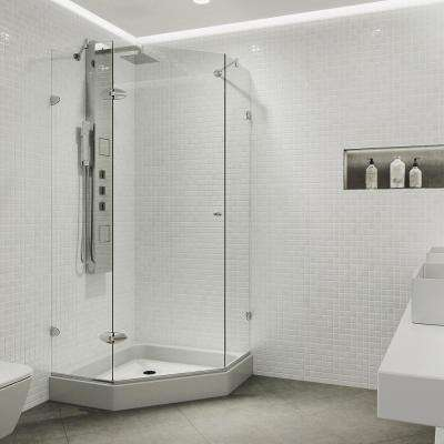 Verona 38.125 in. x 78.75 in. Frameless Neo-Angle Shower Enclosure in Chrome with Clear Glass with Base in White