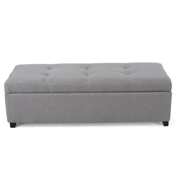 Noble House Brentwood Gray Fabric Storage Bench 298889