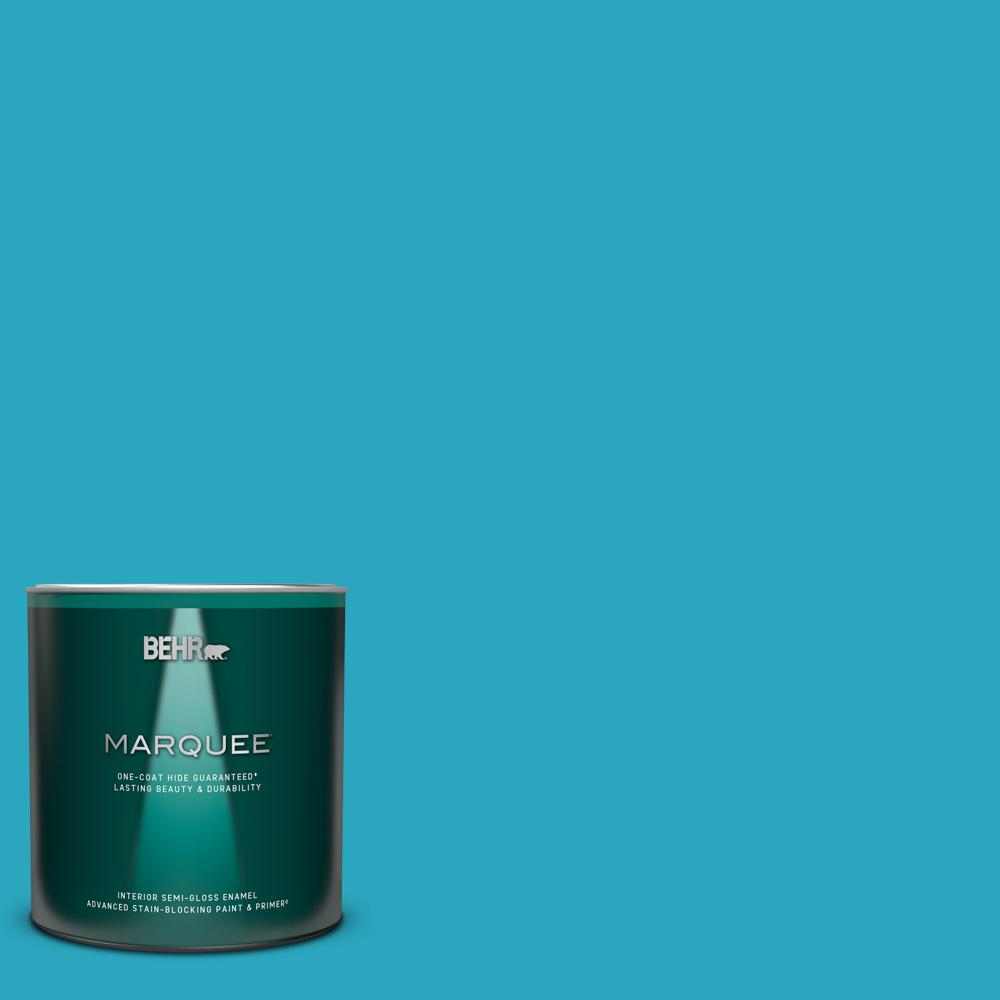Behr Marquee 1 Qt Mq4 52 Gulf Waters One Coat Hide Semi Gloss Enamel Interior Paint And Primer In One 345404 The Home Depot