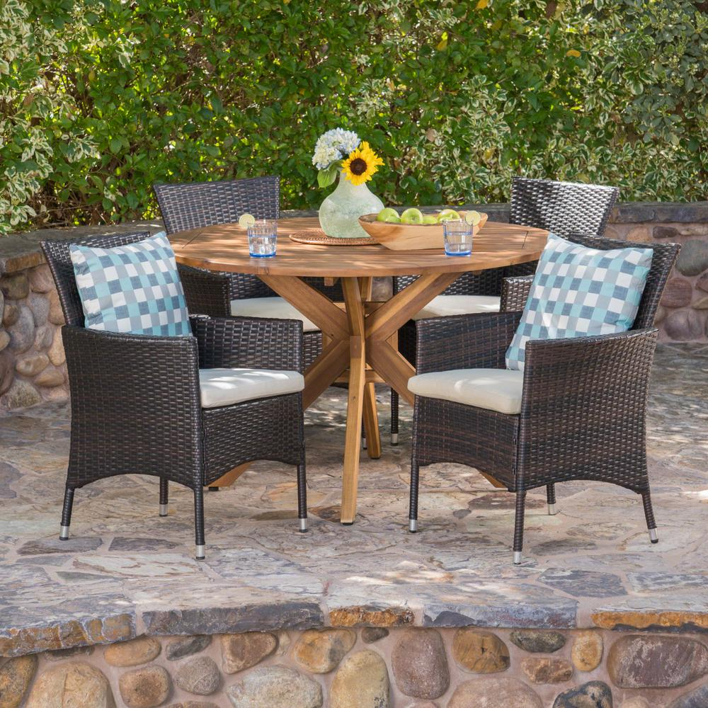 Annabella 5 Piece Wood And Wicker Circular Outdoor Dining Set With Beige Cushion