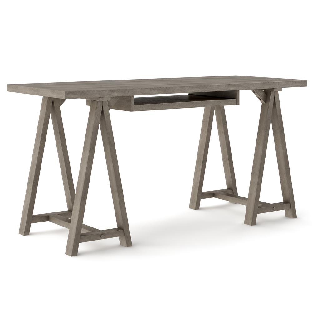 60 in. Rectangular Farmhouse Grey Writing Desk