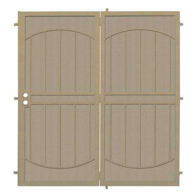 72 in. x 80 in. ArcadaMAX Tan Projection Mount Outswing Steel Patio Security Door with Perforated Metal Screen
